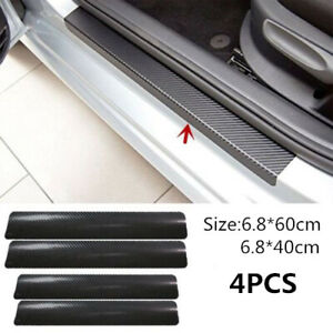 Carbon Fiber Sticker Car Plate Door Sill Scuff Cover Decals For Ford F 150 F250