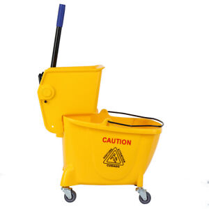 Samger 26 Quart Commercial Mop Bucket With Side Press Wringer Yellow