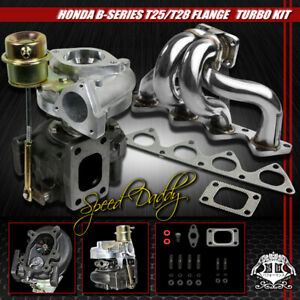 T25 Turbocharger wastegate stainless Turbo Manifold 88 01 B16 b18 Civic integra