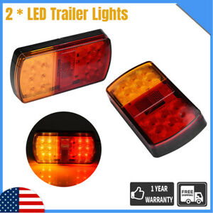 2x 12v Waterproof Truck Trailer Boat 12 Led Lamp Kit Tail Light Stop Indicator