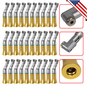 30pc Dental Low Speed Handpiece Contra Angle Nsk Style E type Gold Latch Chuck