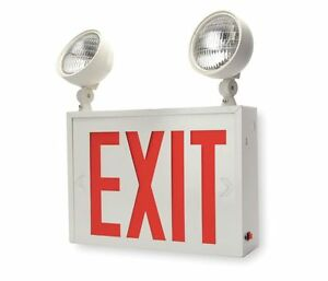Lithonia Led Exit Sign With Emergency Lights Red Steel Lhxny W 1 M2 2 pack