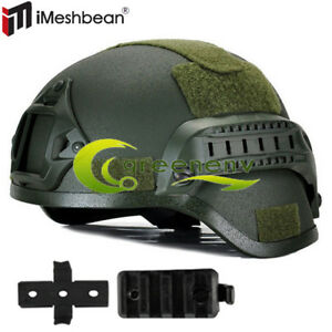 MICH 2000 Airsoft Tactical Hunting Combat Helmet w Side Rail Mount Army Green $27.85