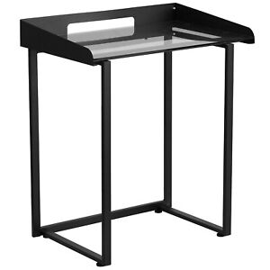 Flash Furniture Nanylcd1233 Contemporary Desk With Clear Tempered Glass And
