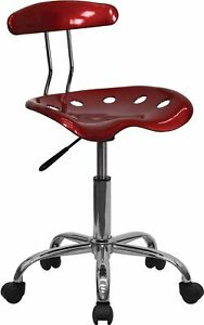 Flash Furniture Vibrant Computer Stool With Tractor Seat Wine Red Lf214wnred