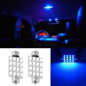 2x Blue 16smd Led Map Dome Interior Lights Bulbs Bulb 42mm Festoon 578