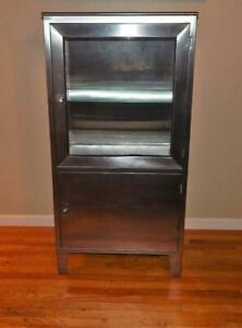 Vtg Mid Century Stainless Steel Glass Medical Cabinet With Shelves No Shipping