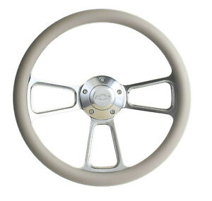 Gray Steering Wheel 14 Billet Muscle Style Wheel With Chevy Bowtie Horn Button