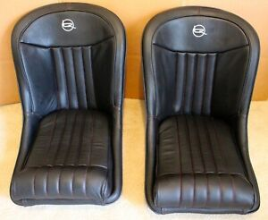 Kit Cars Classic Car Bucket Seats Rounded Back Universal Design Leather Red Trim