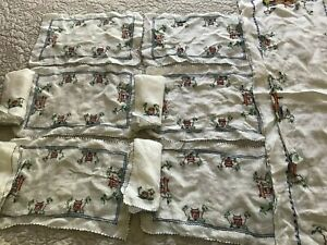 Vintage Linen Hand Embroidered Table Runner 6 Placemats And 4 Napkins