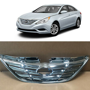 Chrome Front Upper Bumper Replacement Grille For 2010 2013 Hyundai Sonata