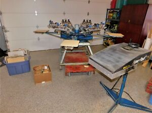 M r 4 Station 6 Color Screen Printing Equipment With Flash Dryer 26 Pallet s