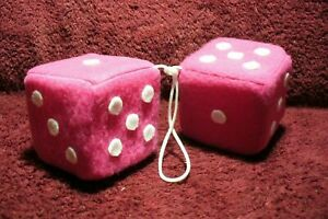 New Hot Pink White 3 Inch Hanging Fuzzy Dice Auto Truck Mirror 50s Accessory