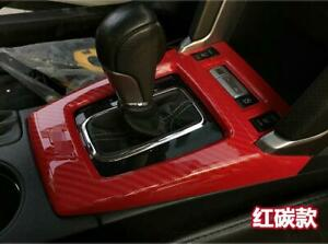 For Subaru Forester 2013 2018 Red Carbon Fiber Central Console Gear Shift Panel