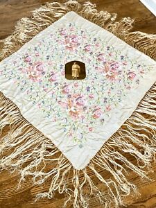 Embroidered Piano Shawl Antique 1900 1920s Silk Chinese Embroidery W Photo