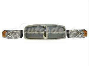 For 2002 2005 Dodge Ram 1500 2500 3500 Grille Chrome W blk Honeycomb Headlight 3