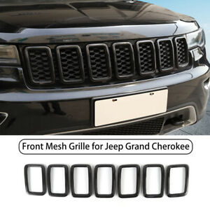 Front Grille Grill Inserts Ring Trim For Jeep Grand Cherokee 2017 Carbon Fiber