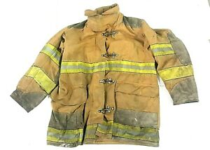 42x35 Brown Globe Firefighter Turnout Jacket Coat Yellow Tape No Liner Jnl 43
