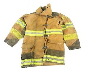 38x35 Brown Globe Firefighter Turnout Jacket Coat Yellow Tape No Liner Jnl 45