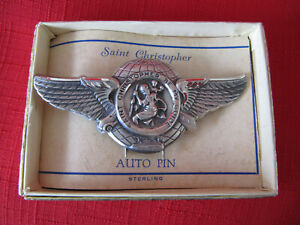 Vintage Sterling Visor St Christopher Guide Auto Pin Ford Chevy Gm Mib