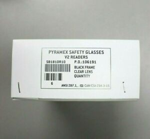 Pyramex Sb1810r10 Safety Glasses V2 Blk Frame W Clear Lens Lot Of 6 Pairs