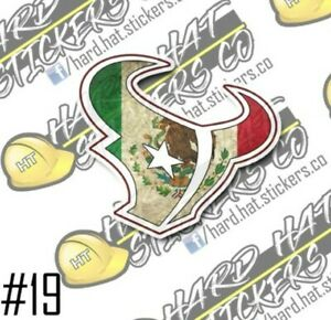 MEXICO FLAG TEXANS Hard hat stickers (3PACK)