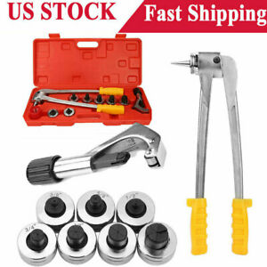 Plumbing Pipe Expander Tool Hvac Hydraulic Copper Heads Tube Swaging Kit W Case