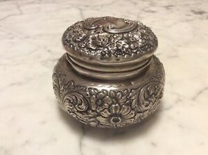 Antique Gorham Sterling Silver Repousse Floral Covered Dresser Box Jar