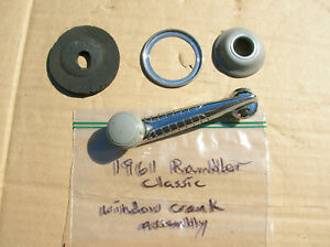 1961 Rambler Classic Window Crank Assembly 3455652 Good Used Grey Knob