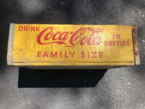 Coca Cola WOODEN CRATE Carrier Yellow Antique Patina Woodstock 1969