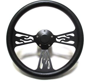 1969 1994 Pontiac Steering Wheel Black Leather Flamed Design With Adapter horn