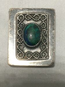 Israel 925 Sterling Silver Pill Snuff Box Blue Green Turquoise Eilat Stone