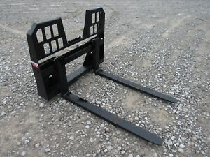 48 4 400 Pound Walk Through Pallet Forks Set Attachment Fits Skid Steer Loader
