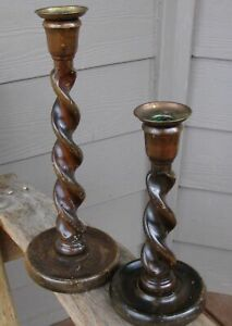 2 Antique Barley Twist Wood Farmhouse Candle Holder Architectural Patina 12 9