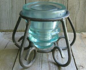 Antique Aqua Insulator Metal Coastal Vase Farmhouse Vintage Candle Holder