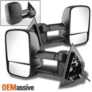 Fit 2007 2013 Silverado Sierra Extendable Tow Trailer Power Side Mirrors L R