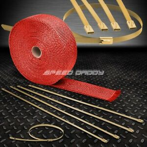 32 10m 2 w Exhaust Piping Catback Red Heat Wrap stainless Gold Zip Tie