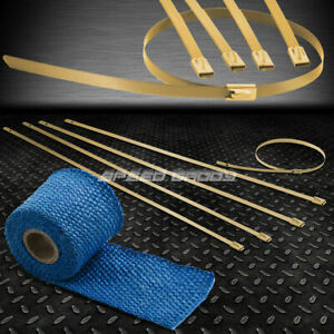 5ft 60 l 2 w Manifold Catback Pipe Blue Heat Wrap stainless Gold Zip Tie