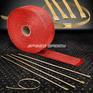 25 7 5m 2 w Exhaust Piping Catback Red Heat Wrap stainless Gold Zip Tie