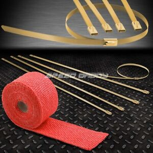 15ft 180 2 w Exhaust Piping Catback Red Heat Wrap stainless Gold Zip Tie