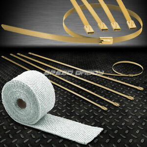15ft 180 2 w Header Catback Exhaust White Heat Wrap stainless Gold Zip Tie