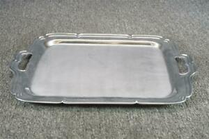 16 Long Silver Plated Serving Tray With Handles Farberware