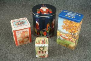Set Of 4 Vintage Tin Cans  Hershey's  Two Christmas  1 DM Ferry Co Flower Seeds