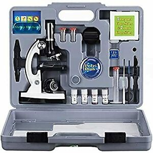 Amscope 52pc 120x 1200x Starter Compound Microscope Science Kit For Kids