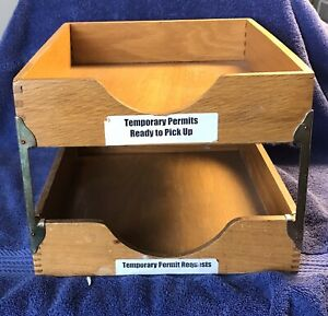 Vintage All Original 2 Tier Oak Paper Letter Trays Not Restored