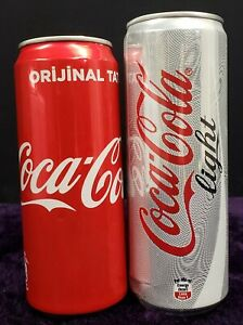 Coca Cola and Coca Cola Light Cans from Turkey (empty)
