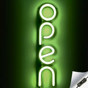 Vertical Led Neon Open Sign For Business Green