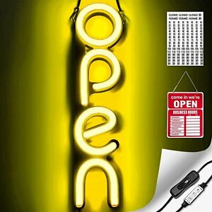 Vertical Led Neon Open Sign Light For Business Yellow