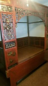 Chinese Canopy Wedding Opium Bed Carved Aprox 96 X 50 X 90