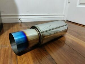 Jdm N1 Style Burntip Stainless Steel Racing Resonator Exhaust Muffler 2 0 Inlet